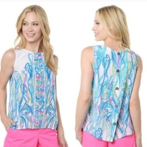 LILLY PULITZER Iona Silk Button Back Tank Top